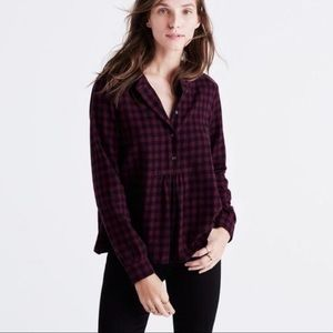 Madewell Red & Black Buffalo Plaid Flannel Blouse